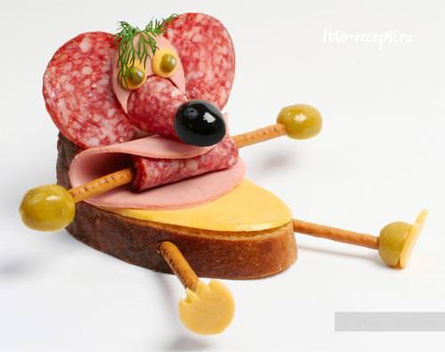 Объемный бутерброд Мышка для детей